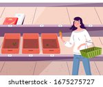 girl chooses products in a... | Shutterstock .eps vector #1675275727