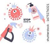 set of disinfection coronavirus....   Shutterstock .eps vector #1675276321