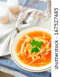 Small photo of Russian Cabbage Soup with Potato and Haricot Beans, Shchi (Stchi), copy space for your text