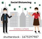 social distancing. businessman... | Shutterstock .eps vector #1675297987