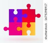 four piece puzzle. solution... | Shutterstock .eps vector #1675298917