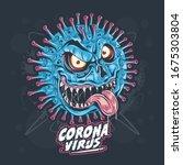 corona virus monster artwork ...   Shutterstock .eps vector #1675303804