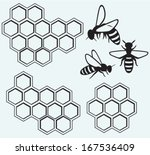 bees on honey cells isolated on ... | Shutterstock .eps vector #167536409