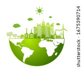 ecology  friendly concept. save ... | Shutterstock .eps vector #1675390714