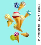 colorful ice cream in a waffle... | Shutterstock .eps vector #1675415887