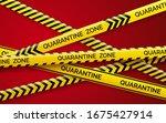 danger tape quarantine. warning ... | Shutterstock .eps vector #1675427914