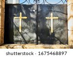 Black Metal Cemetery Gates Wit...