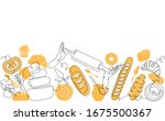bakery pattern. background with ... | Shutterstock .eps vector #1675500367