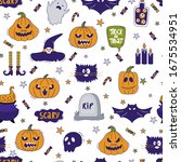 halloween seamless pattern.... | Shutterstock .eps vector #1675534951