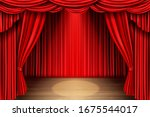 Red Stage Curtain And Wooden...