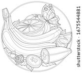 fruit with butterfly. bananas  ...   Shutterstock .eps vector #1675544881