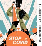 fight with coronavirus concept. ...   Shutterstock .eps vector #1675558441