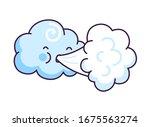 cute cloud blowing wind.... | Shutterstock .eps vector #1675563274