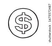 vector dollar sign icon. hand...   Shutterstock .eps vector #1675572487