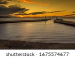Sunset Over Whitby Harbour With ...