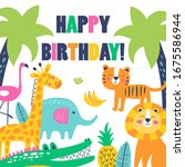 happy birthday card with cute...   Shutterstock .eps vector #1675586944