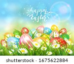 easter theme with colorful eggs ... | Shutterstock . vector #1675622884