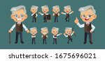old person with different poses.... | Shutterstock .eps vector #1675696021