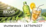 bottled green tea ads with... | Shutterstock .eps vector #1675696327