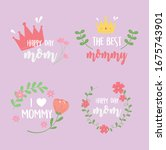 happy mothers day  inscriptions ...   Shutterstock .eps vector #1675743901