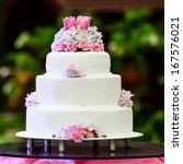 White Four Tiered Wedding Cake...