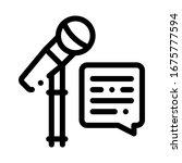 Replica Talking in Microphone Icon Vector. Outline Replica Talking in Microphone Sign. Isolated Contour Symbol Illustration