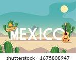 cinco de mayo label with desert ... | Shutterstock .eps vector #1675808947