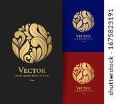 golden leaf emblem in a circle...   Shutterstock .eps vector #1675823191
