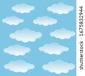set of vector flat clouds. blue ...