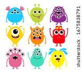 happy halloween. monster set.... | Shutterstock .eps vector #1675838791