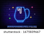 coffee cup neon glow icon....