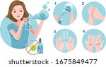 hand washing alcohol spray. how ... | Shutterstock .eps vector #1675849477