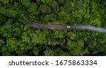 Aerial View Asphalt Road And...