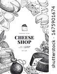 cheese design template. hand... | Shutterstock .eps vector #1675901674