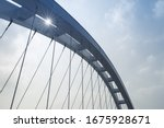 Small photo of arch girder of suspension bridge closeup