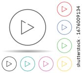 play sign multi color set icon. ...