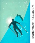 winter sport  skiing poster or... | Shutterstock . vector #167602271