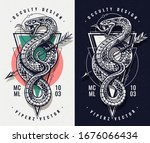 occult design with snake and...   Shutterstock .eps vector #1676066434