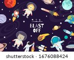 collection of space background...   Shutterstock .eps vector #1676088424