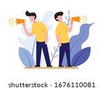 business man with speaker or...   Shutterstock .eps vector #1676110081