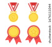 gold medals for first place in... | Shutterstock .eps vector #1676111044