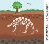 soil layers with bones. cartoon ...   Shutterstock .eps vector #1676113084