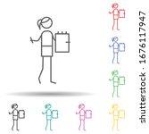 teacher multi color set icon....