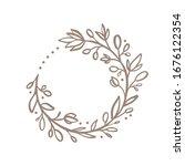 hand drawn flower wreath logo.... | Shutterstock .eps vector #1676122354