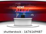 white table and news alert on... | Shutterstock .eps vector #1676169487