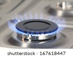 detail of gas burner with blue... | Shutterstock . vector #167618447