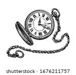 pocket watch. ink sketch... | Shutterstock .eps vector #1676211757