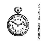 pocket watch. ink sketch... | Shutterstock .eps vector #1676212477