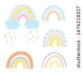 vector set colorful rainbows... | Shutterstock .eps vector #1676218327