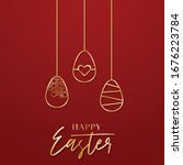 happy easter poster with golden ... | Shutterstock .eps vector #1676223784
